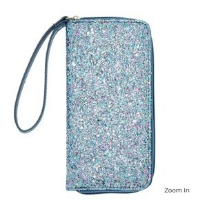 NWT Blue Chunky Glitter Zip Wallet